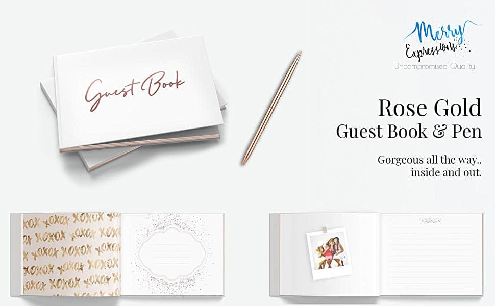 Rose gold guest book with pen